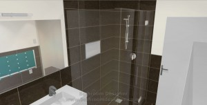 bathroom half tiled walls tiled shower