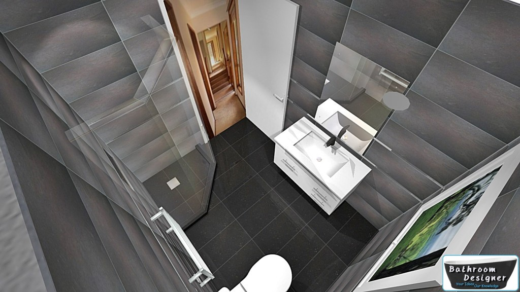 Fully tiled bathroom