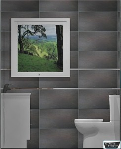 Tiled bathroom west wall